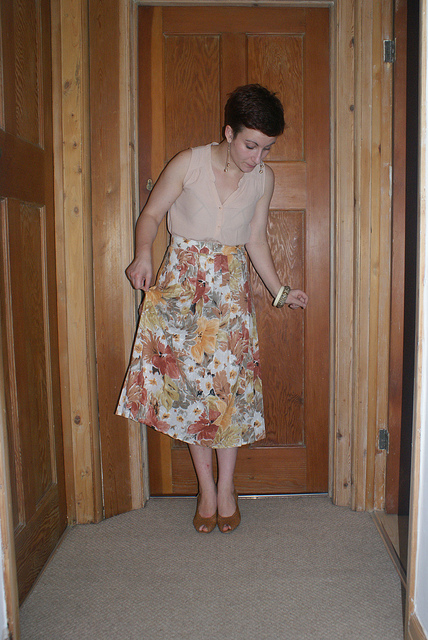 vintage floral pleated skirt from oxfam boutique