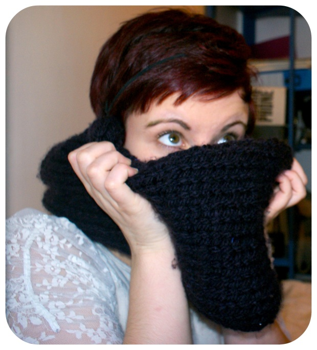 Finished Purple Knitted Snood